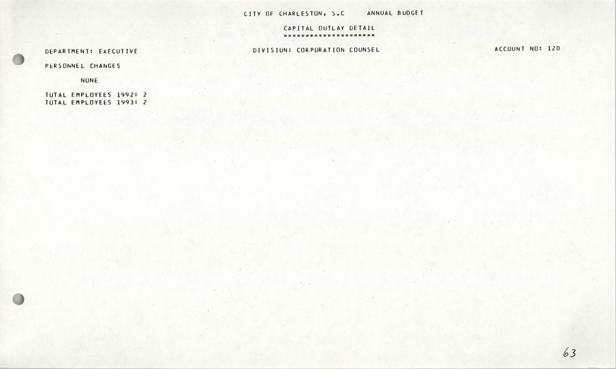 The City Council of Charleston, South Carolina, 1993 Budget, Page 63