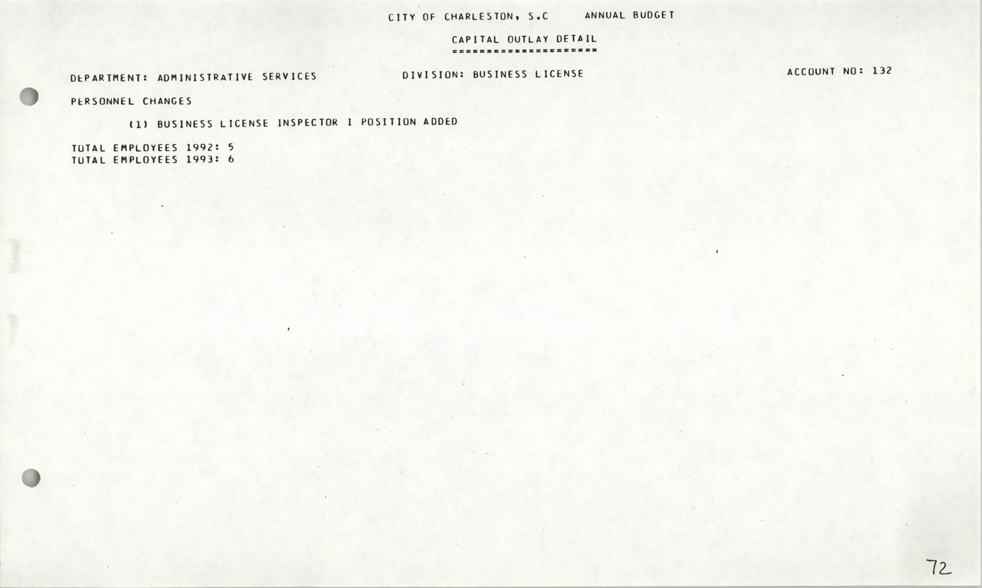 The City Council of Charleston, South Carolina, 1993 Budget, Page 72