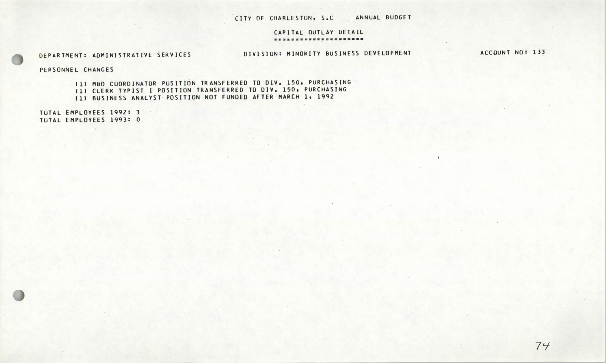 The City Council of Charleston, South Carolina, 1993 Budget, Page 74