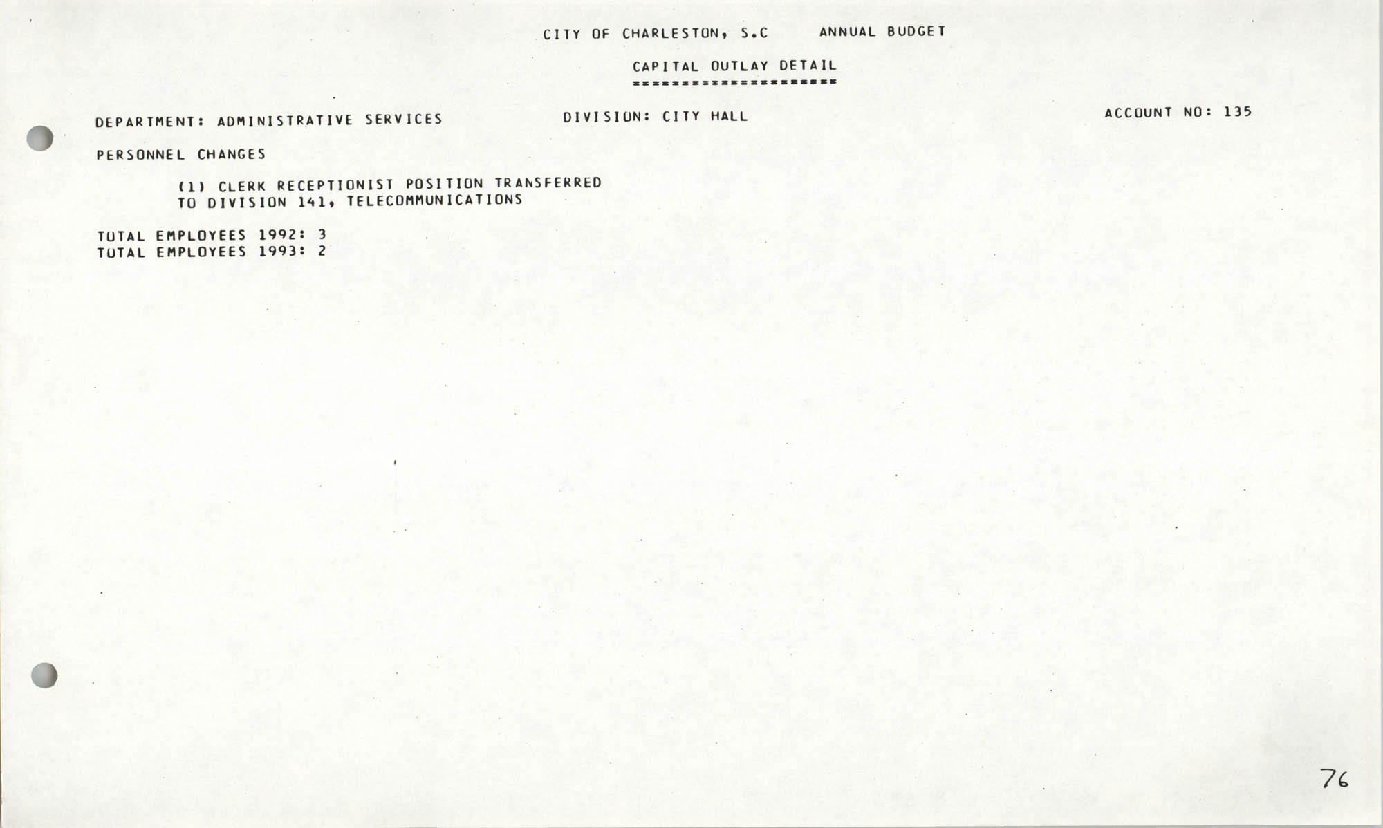 The City Council of Charleston, South Carolina, 1993 Budget, Page 76