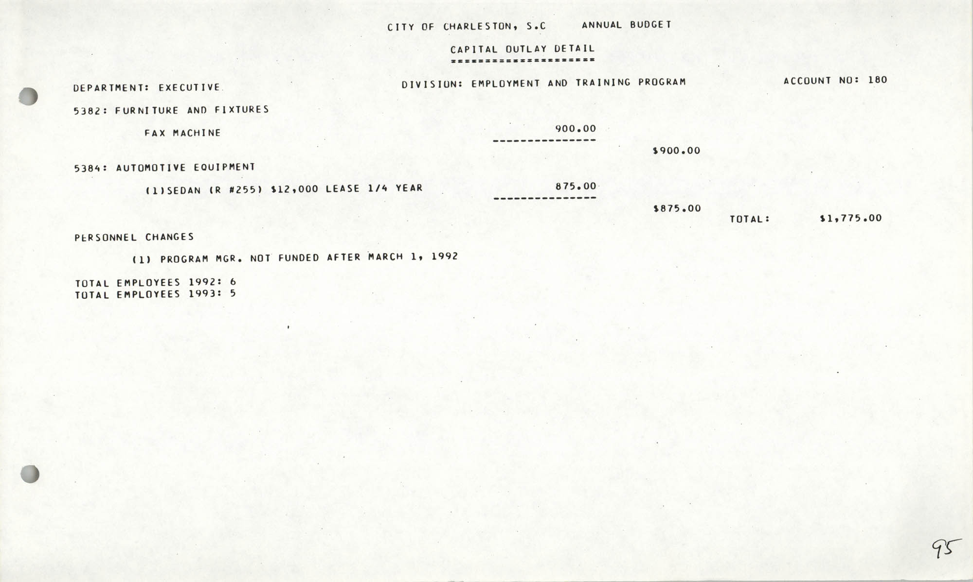 The City Council of Charleston, South Carolina, 1993 Budget, Page 95