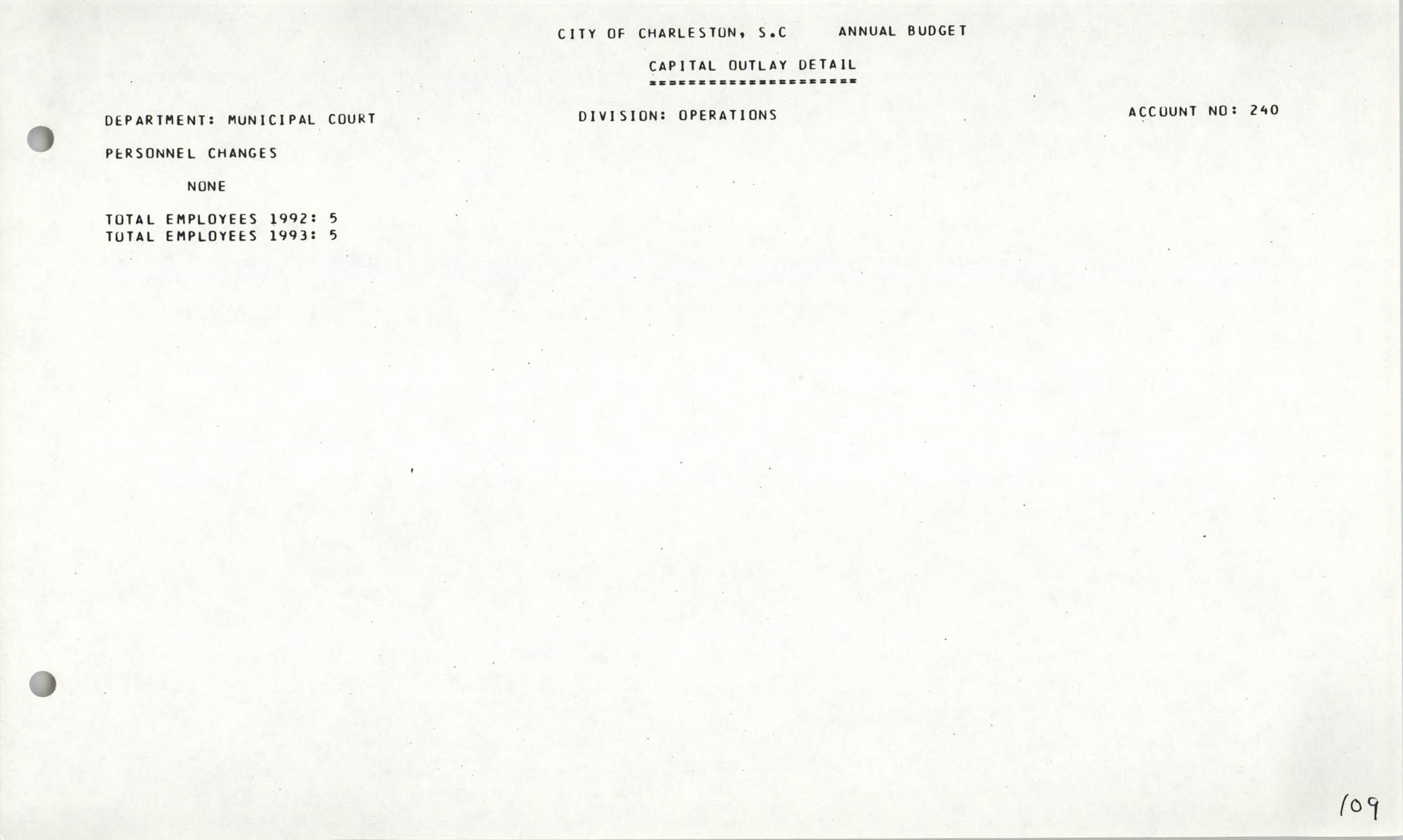 The City Council of Charleston, South Carolina, 1993 Budget, Page 109