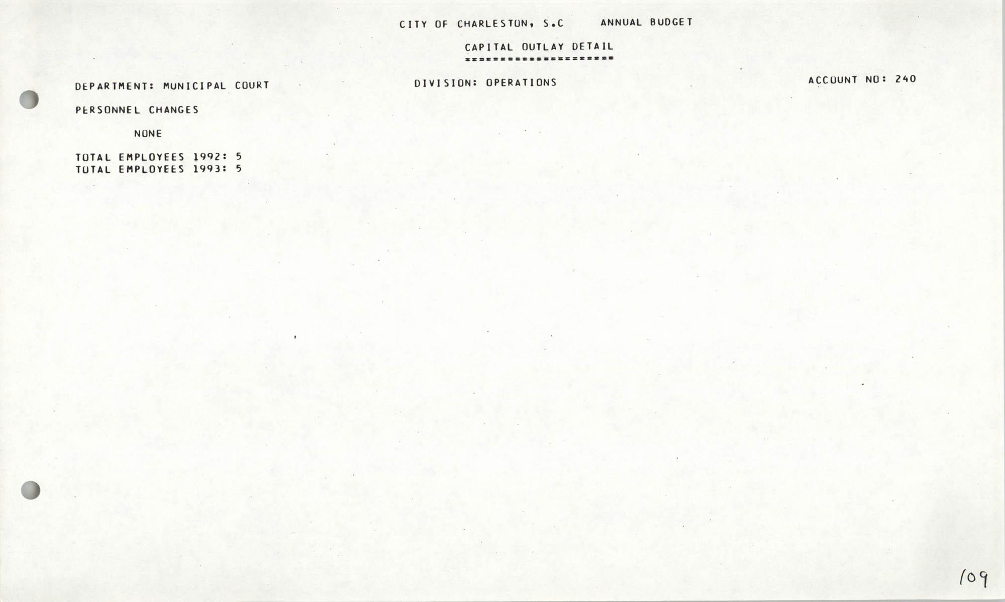 The City Council of Charleston, South Carolina, 1993 Budget, Page 109
