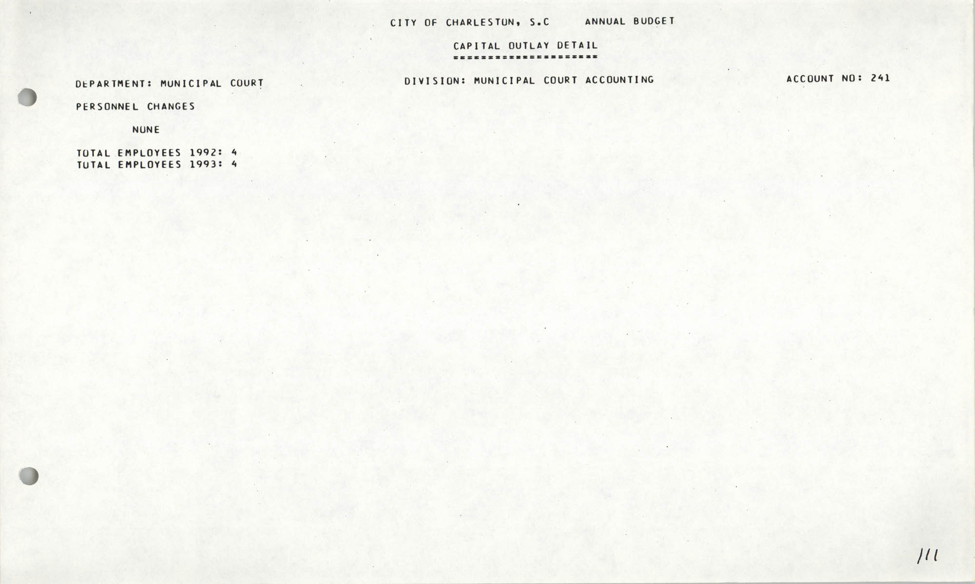 The City Council of Charleston, South Carolina, 1993 Budget, Page 111