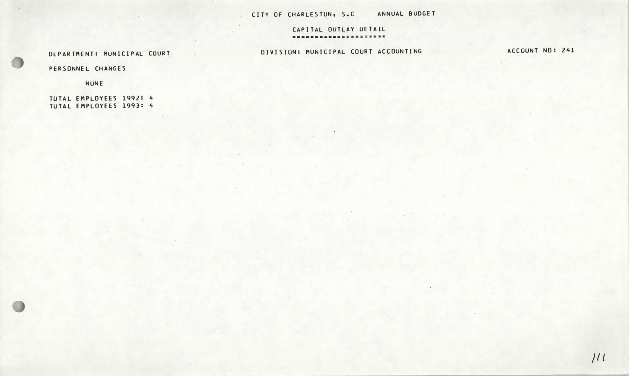 The City Council of Charleston, South Carolina, 1993 Budget, Page 111