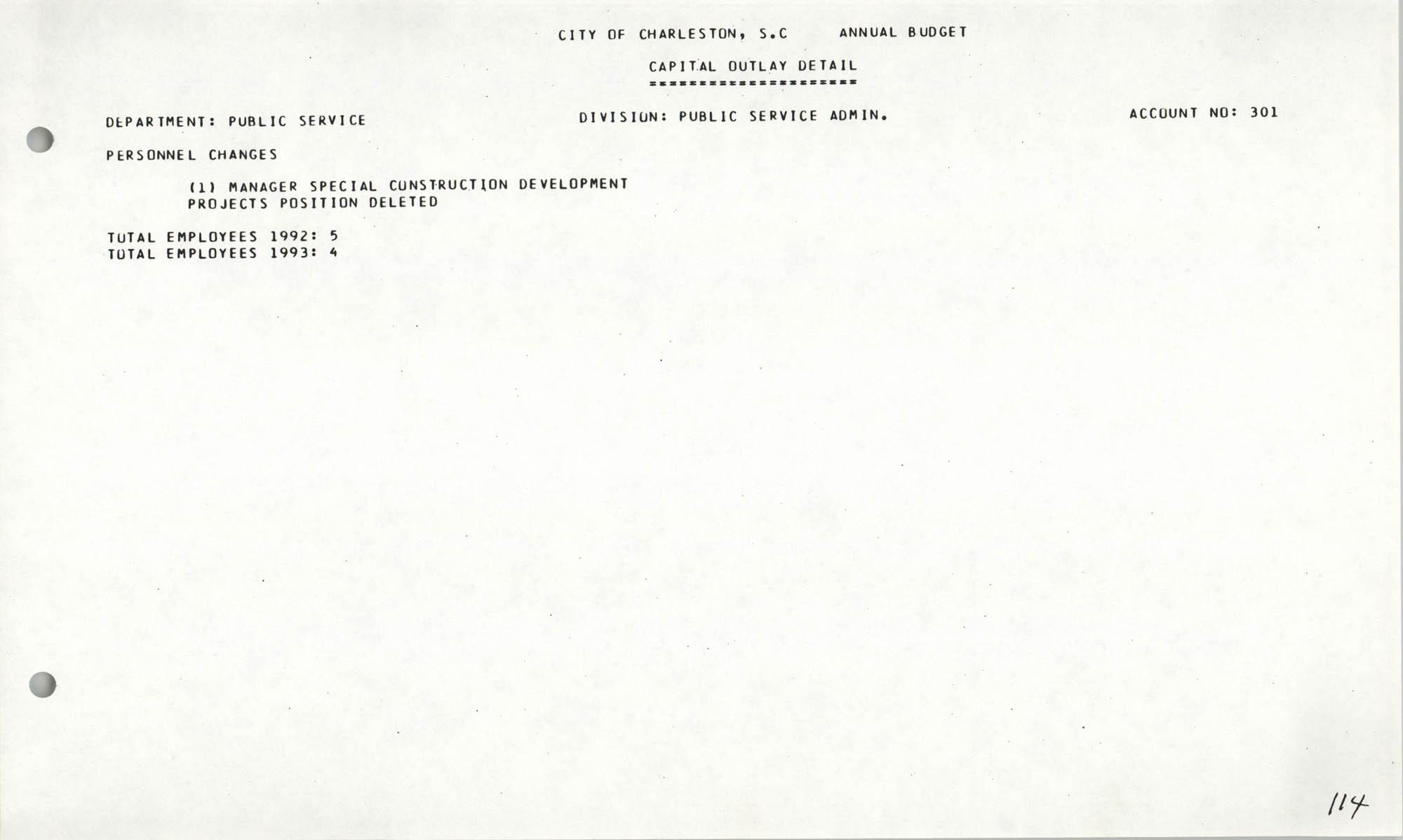 The City Council of Charleston, South Carolina, 1993 Budget, Page 114