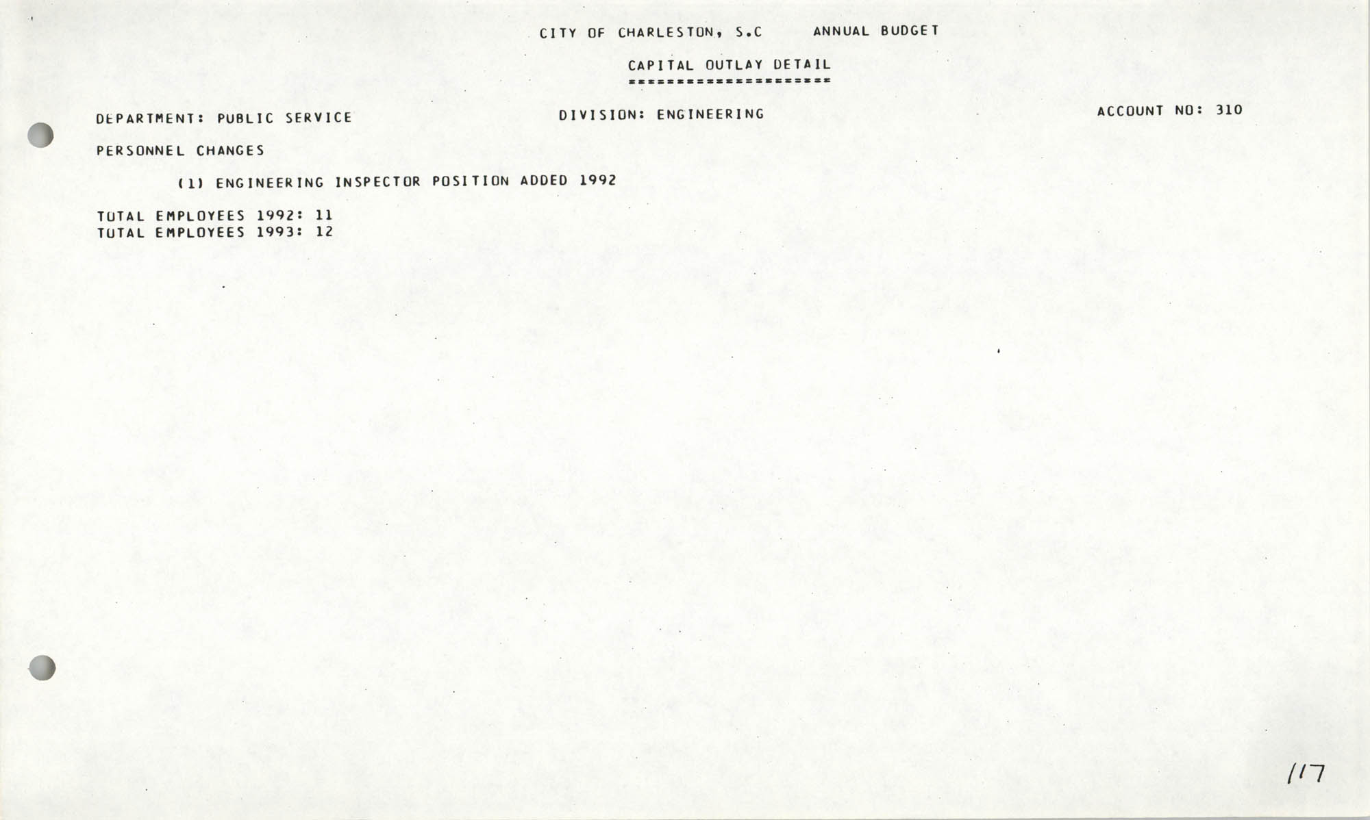 The City Council of Charleston, South Carolina, 1993 Budget, Page 117