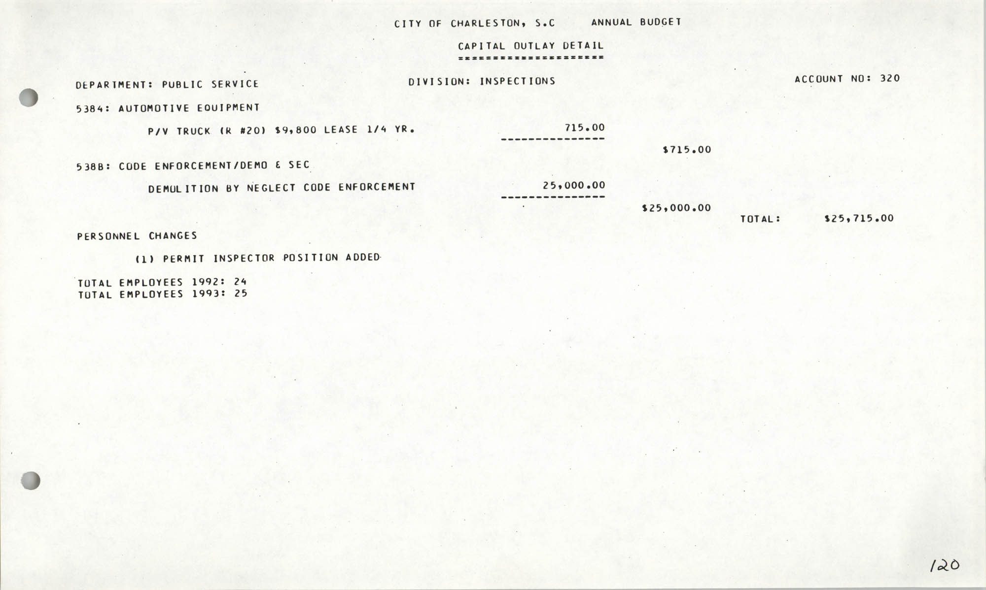 The City Council of Charleston, South Carolina, 1993 Budget, Page 120