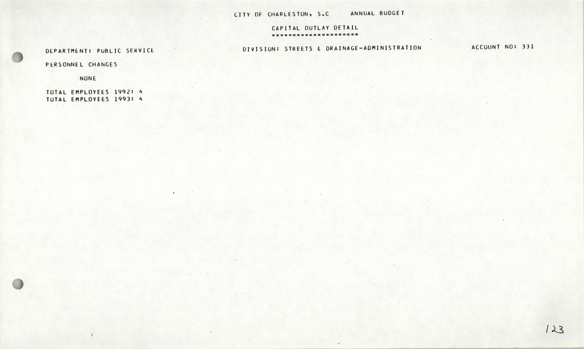The City Council of Charleston, South Carolina, 1993 Budget, Page 123