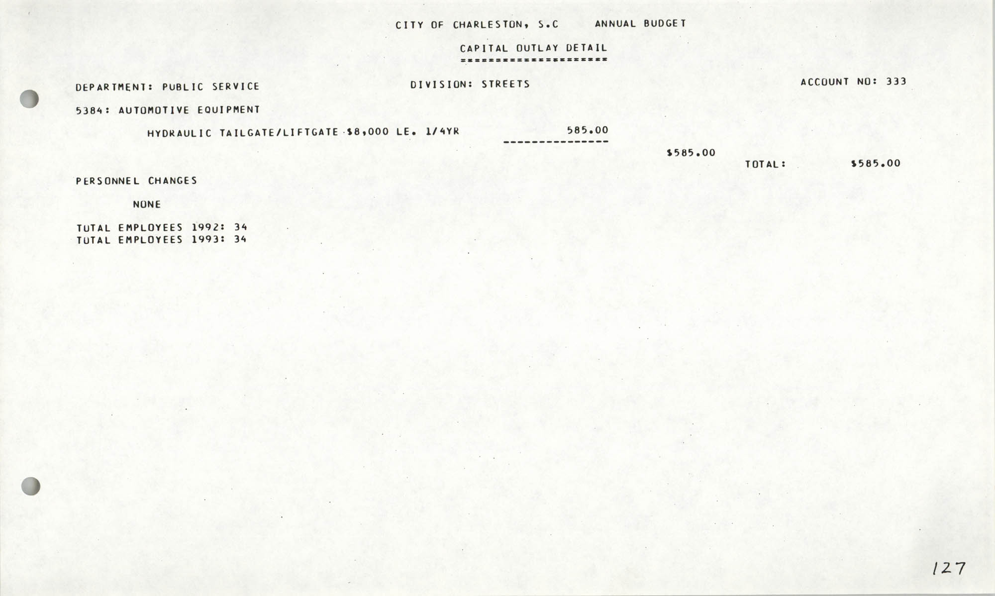 The City Council of Charleston, South Carolina, 1993 Budget, Page 127