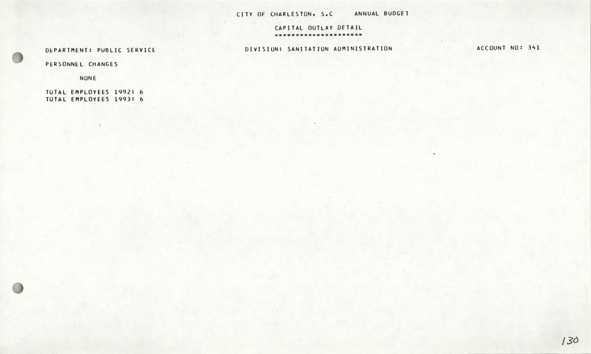 The City Council of Charleston, South Carolina, 1993 Budget, Page 130