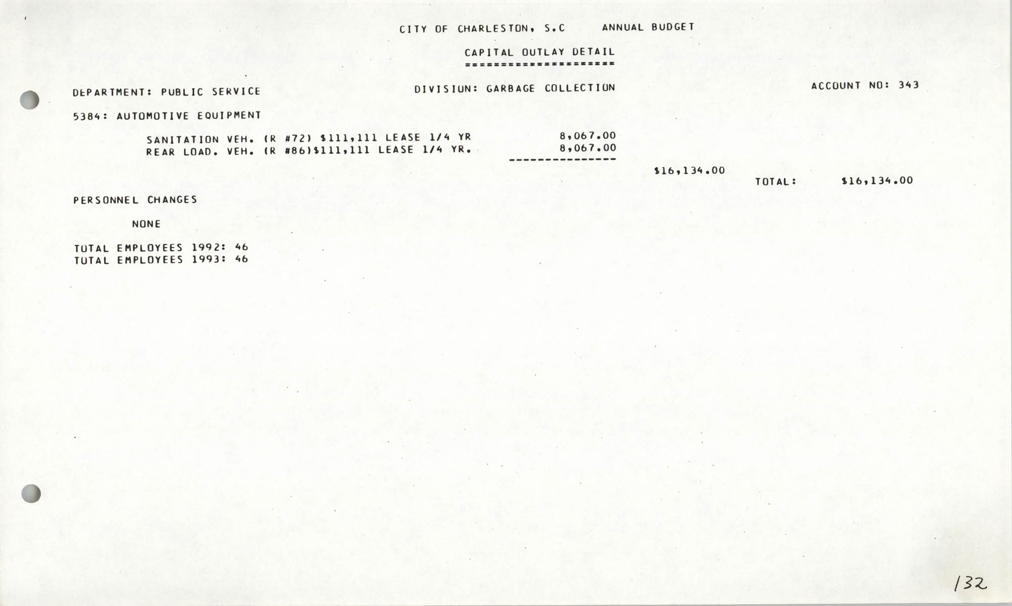 The City Council of Charleston, South Carolina, 1993 Budget, Page 132