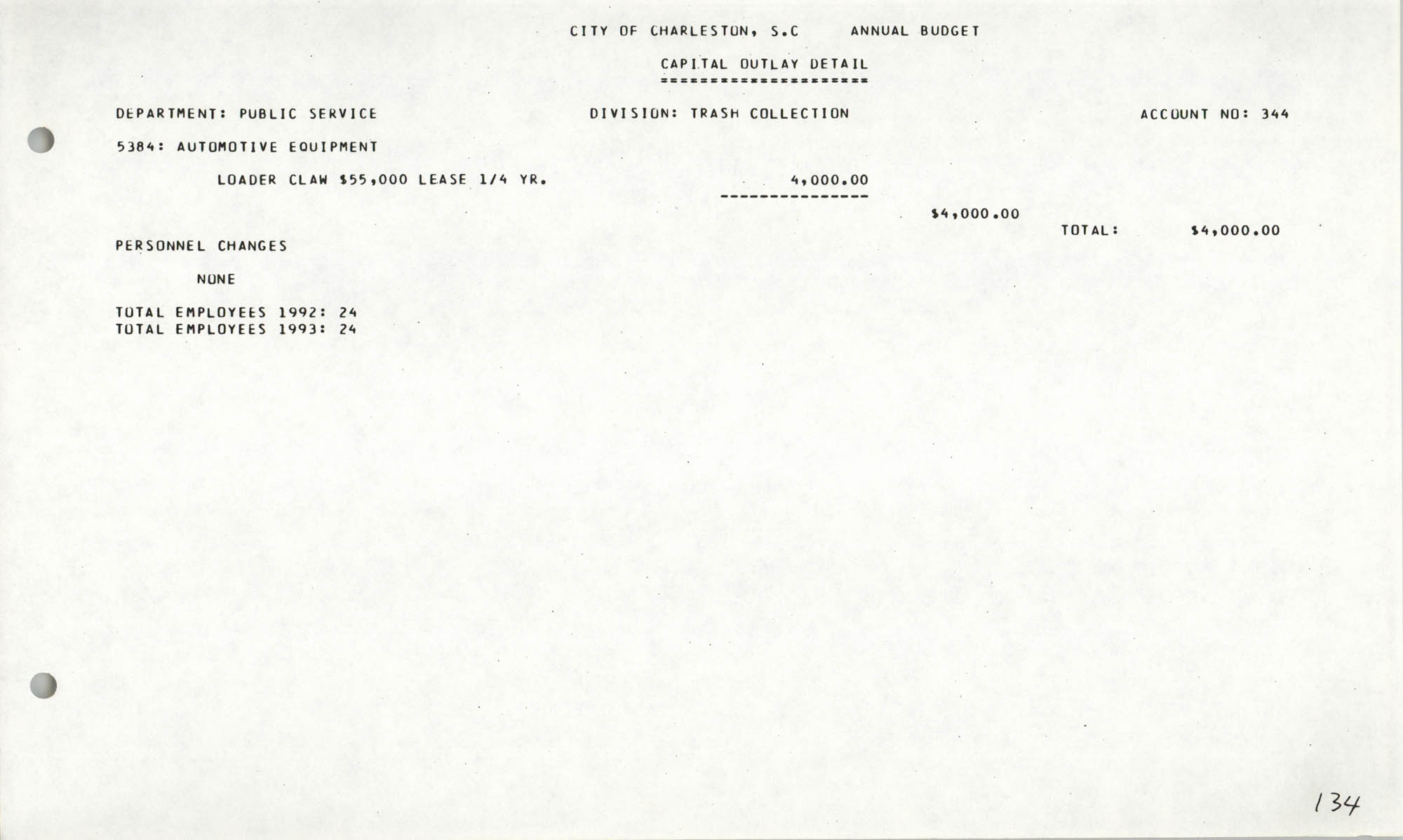 The City Council of Charleston, South Carolina, 1993 Budget, Page 134