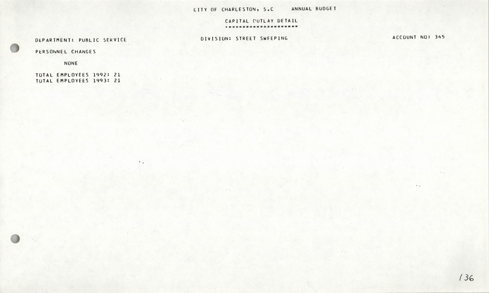 The City Council of Charleston, South Carolina, 1993 Budget, Page 136