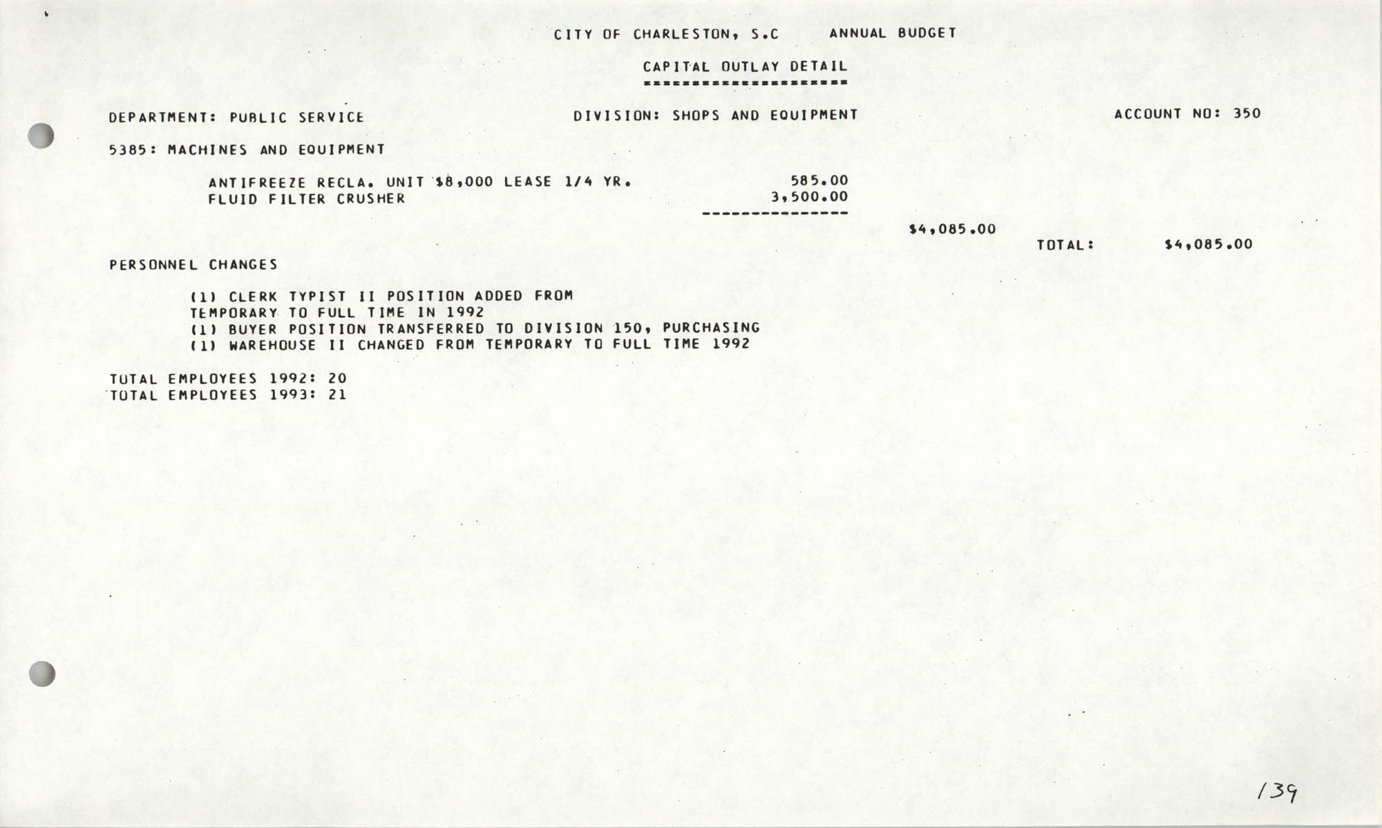 The City Council of Charleston, South Carolina, 1993 Budget, Page 139