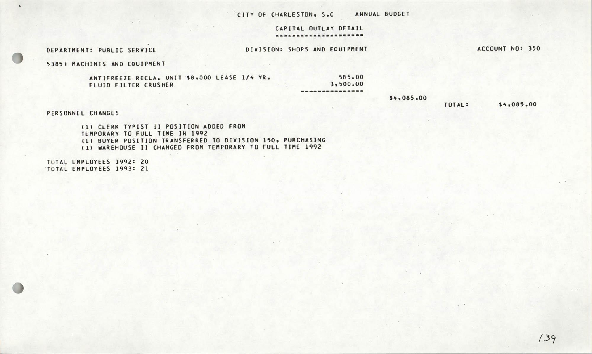 The City Council of Charleston, South Carolina, 1993 Budget, Page 139