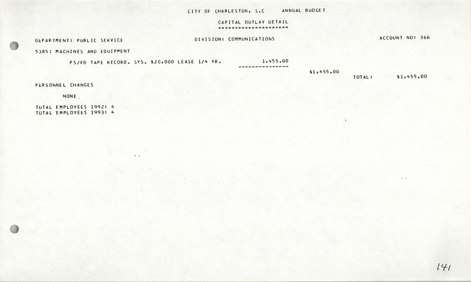 The City Council of Charleston, South Carolina, 1993 Budget, Page 141