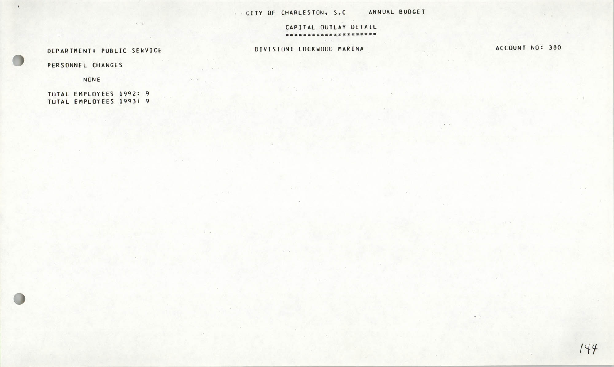 The City Council of Charleston, South Carolina, 1993 Budget, Page 144