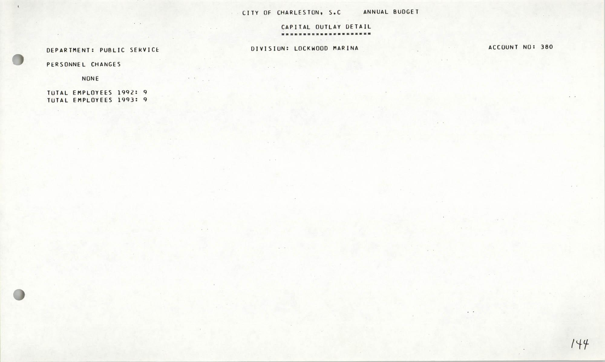 The City Council of Charleston, South Carolina, 1993 Budget, Page 144
