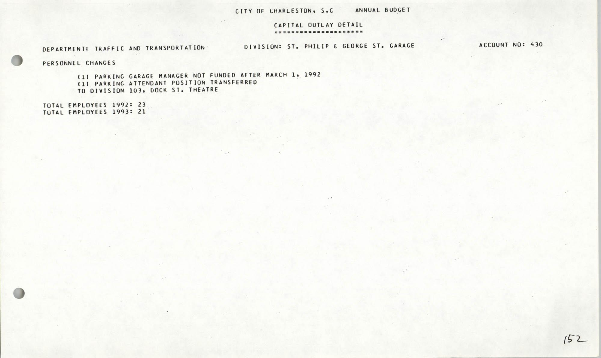The City Council of Charleston, South Carolina, 1993 Budget, Page 152