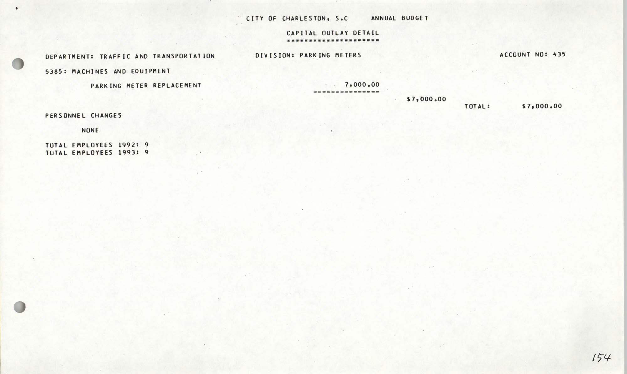 The City Council of Charleston, South Carolina, 1993 Budget, Page 154