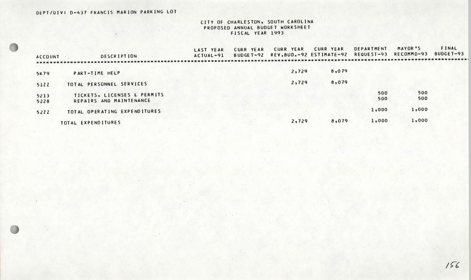 The City Council of Charleston, South Carolina, 1993 Budget, Page 156