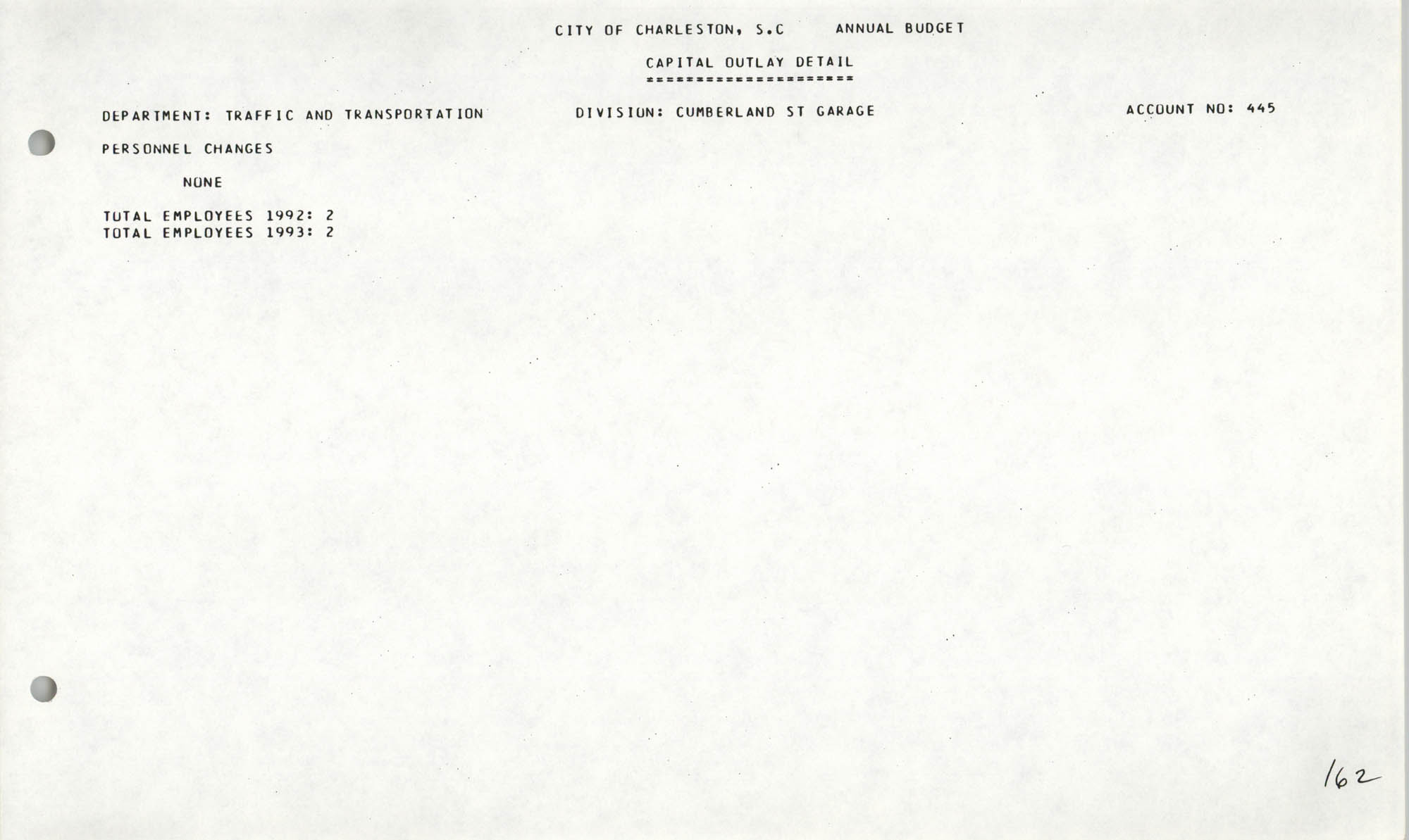 The City Council of Charleston, South Carolina, 1993 Budget, Page 162