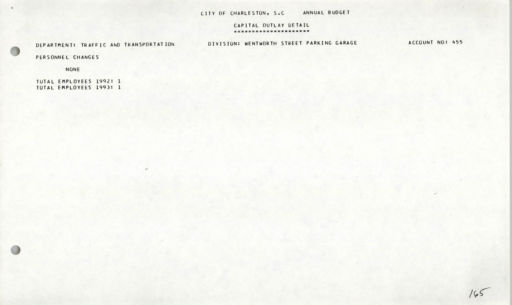 The City Council of Charleston, South Carolina, 1993 Budget, Page 165