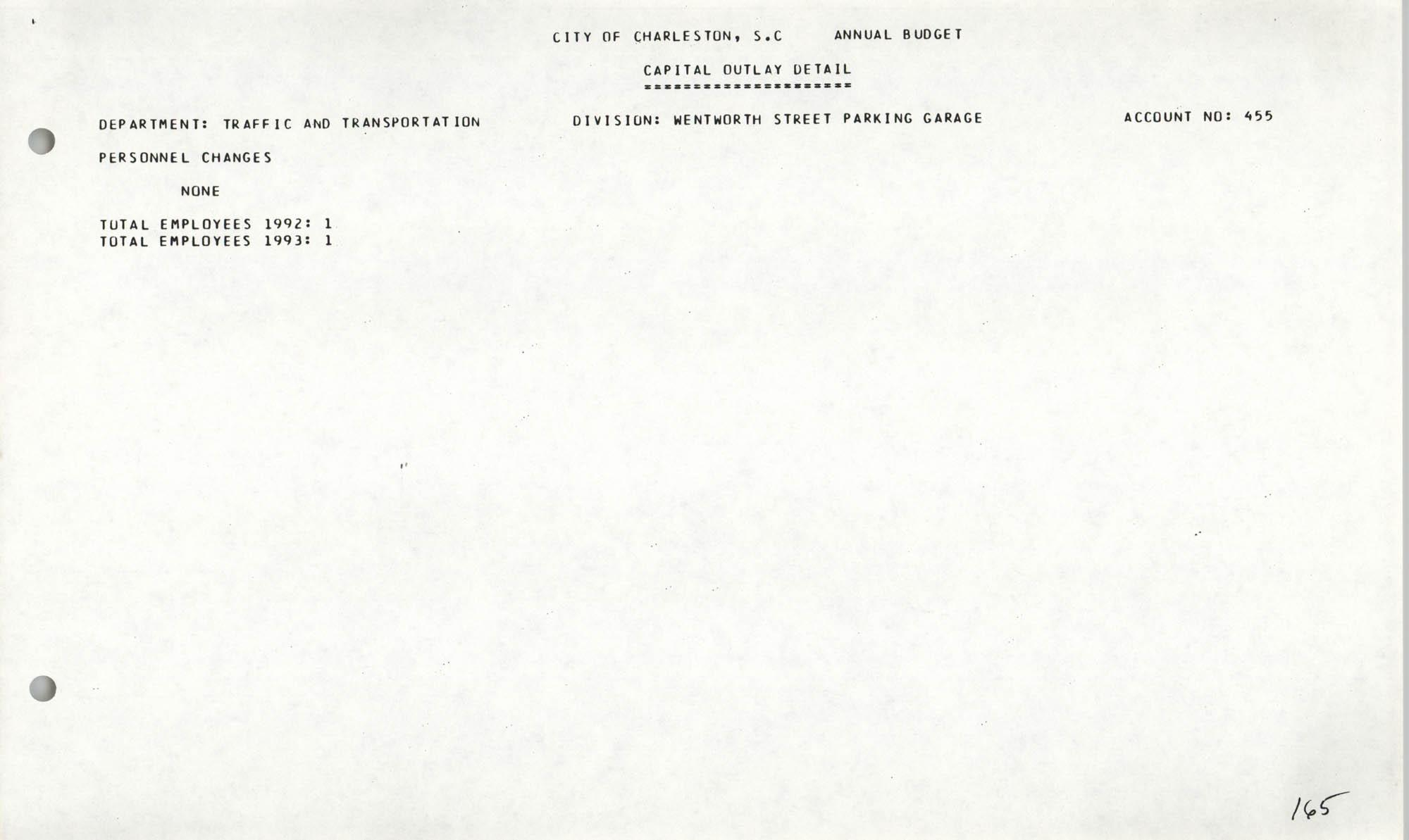 The City Council of Charleston, South Carolina, 1993 Budget, Page 165