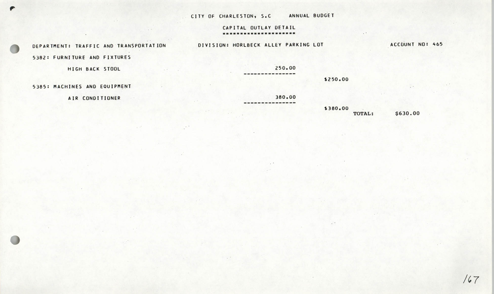 The City Council of Charleston, South Carolina, 1993 Budget, Page 167