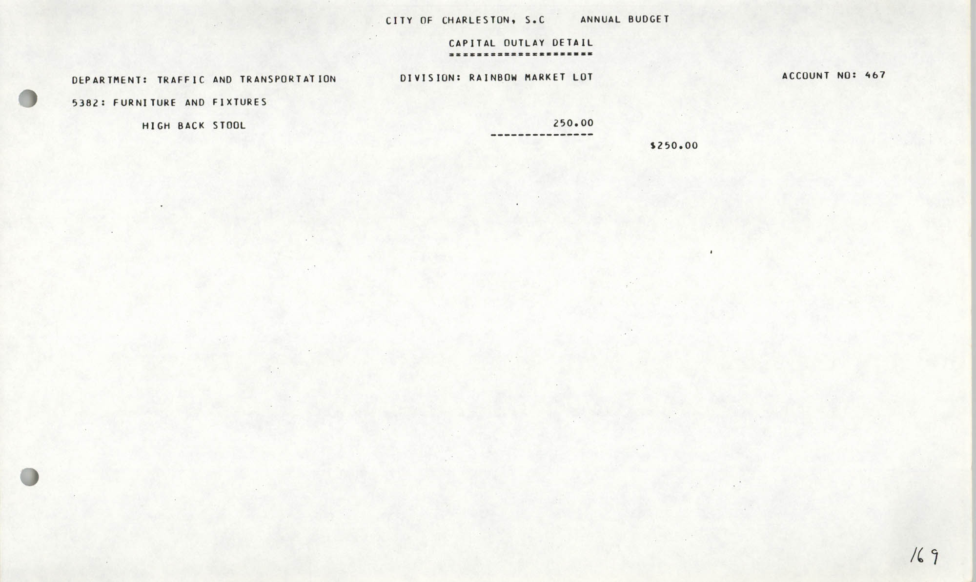The City Council of Charleston, South Carolina, 1993 Budget, Page 169