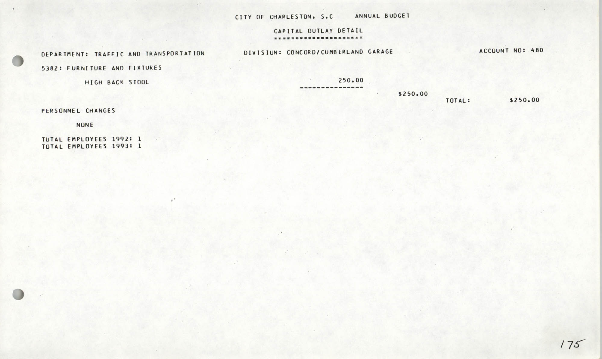 The City Council of Charleston, South Carolina, 1993 Budget, Page 175