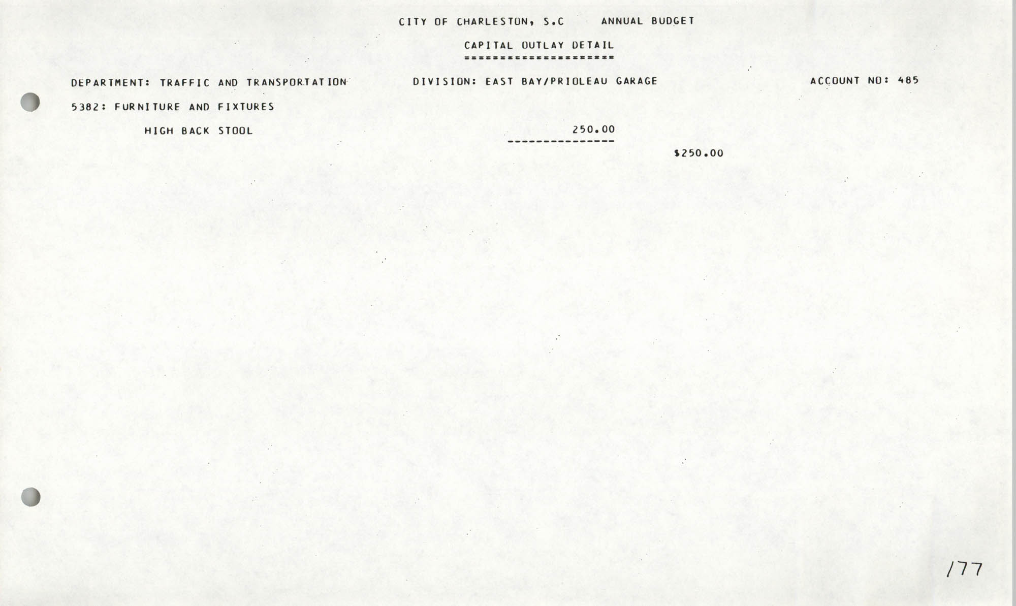 The City Council of Charleston, South Carolina, 1993 Budget, Page 177