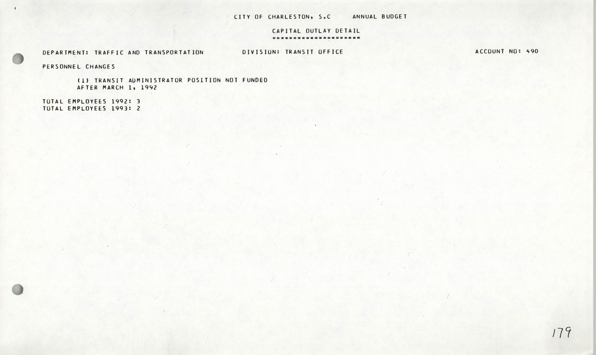 The City Council of Charleston, South Carolina, 1993 Budget, Page 179