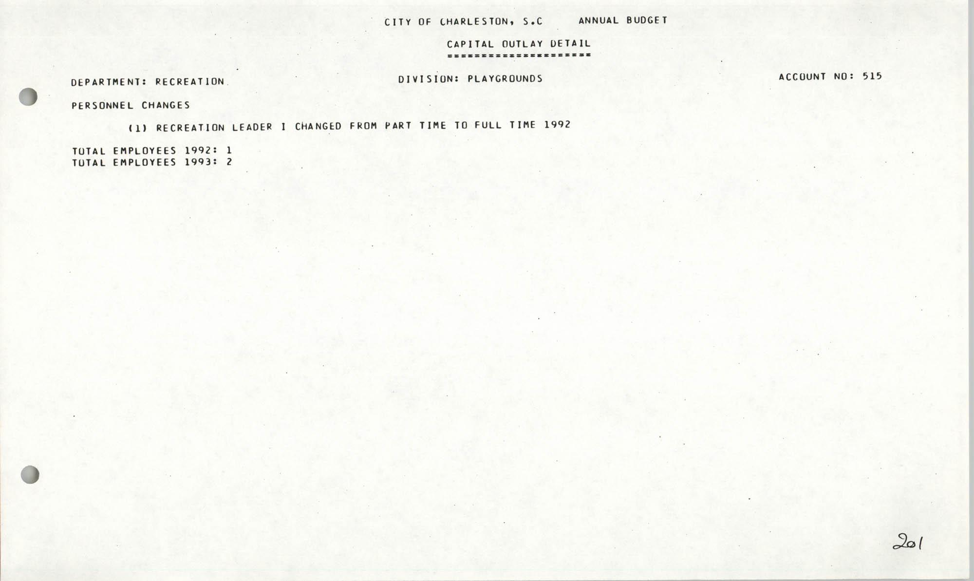 The City Council of Charleston, South Carolina, 1993 Budget, Page 201