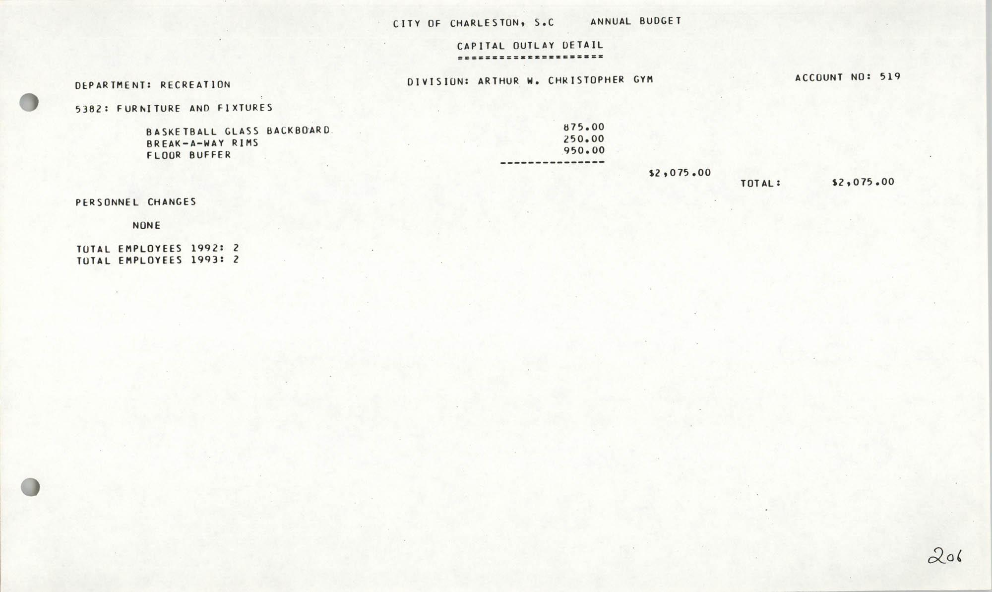 The City Council of Charleston, South Carolina, 1993 Budget, Page 206