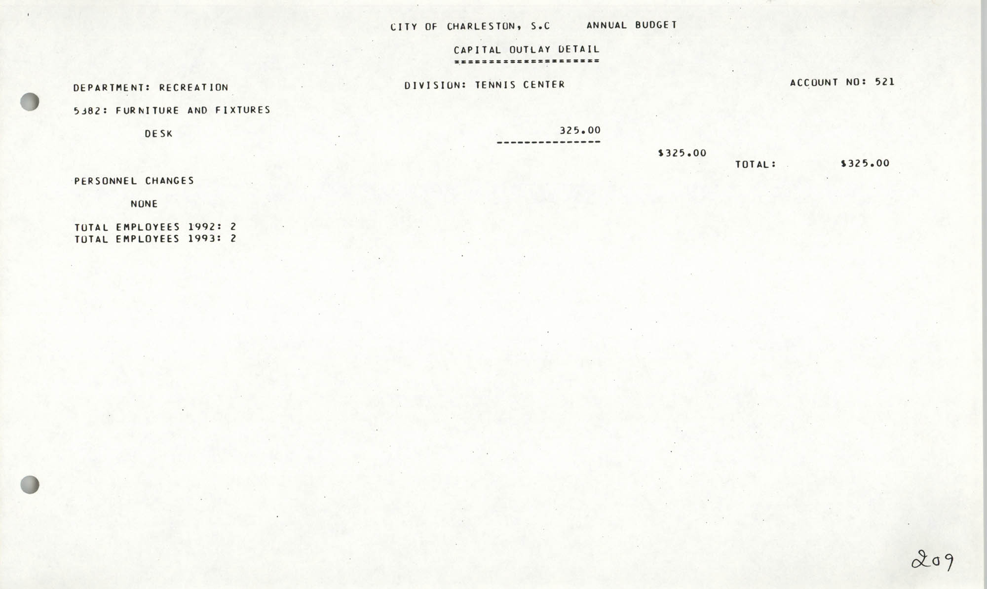 The City Council of Charleston, South Carolina, 1993 Budget, Page 209