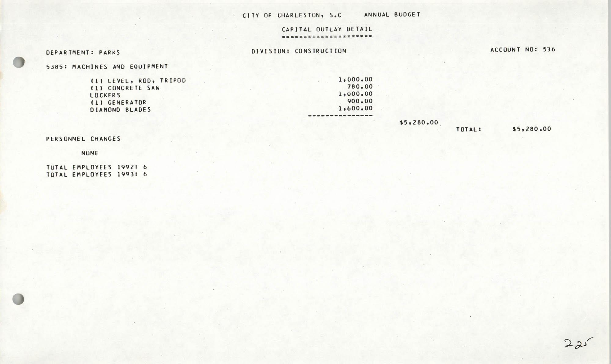 The City Council of Charleston, South Carolina, 1993 Budget, Page 225