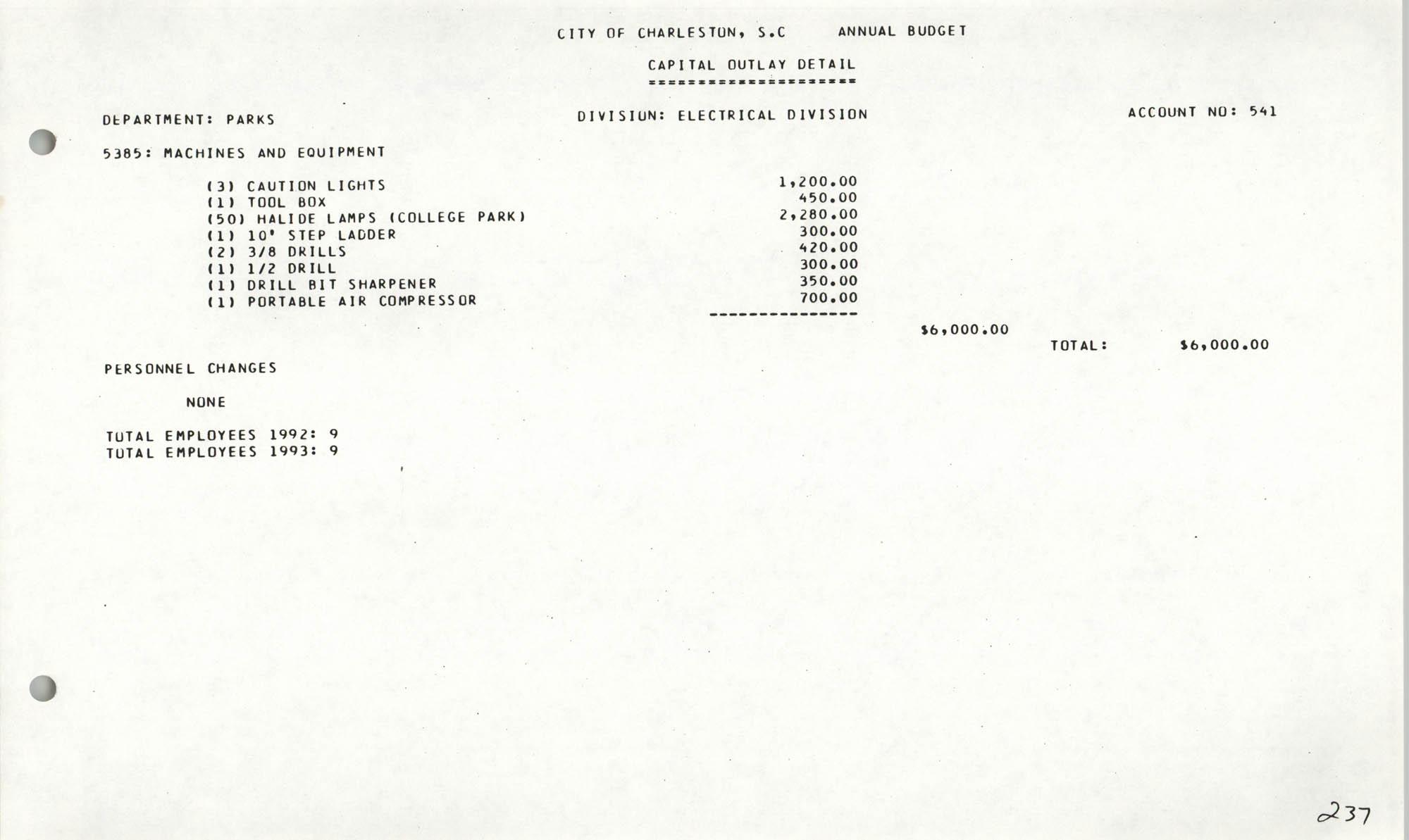 The City Council of Charleston, South Carolina, 1993 Budget, Page 237