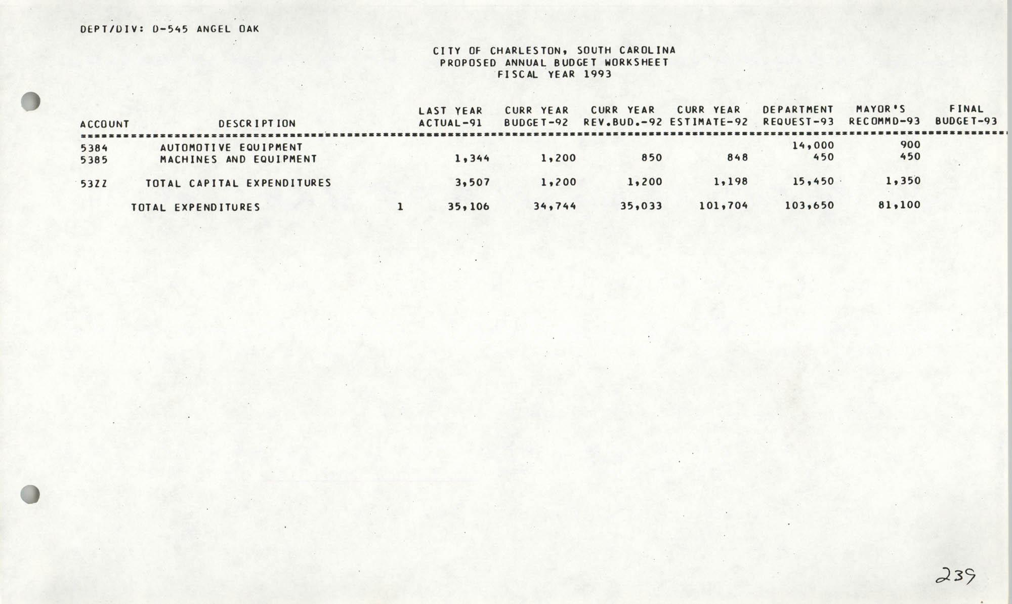 The City Council of Charleston, South Carolina, 1993 Budget, Page 239