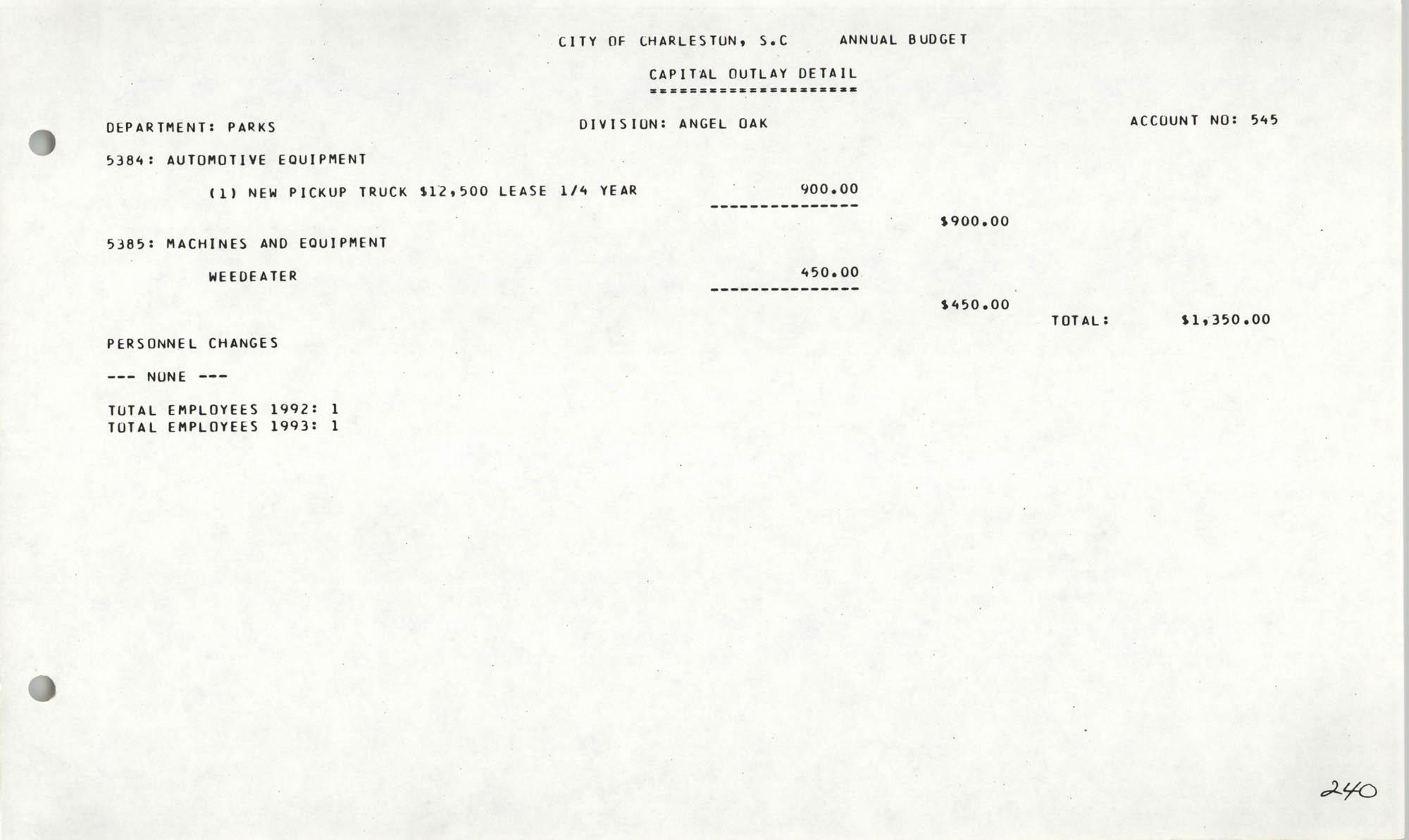 The City Council of Charleston, South Carolina, 1993 Budget, Page 240
