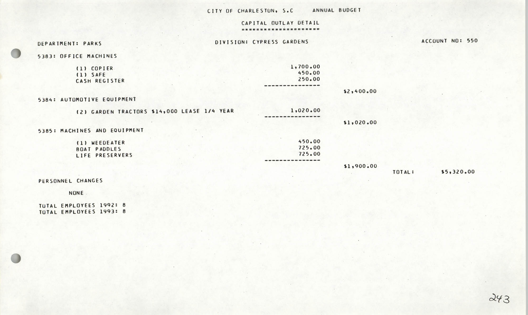 The City Council of Charleston, South Carolina, 1993 Budget, Page 243