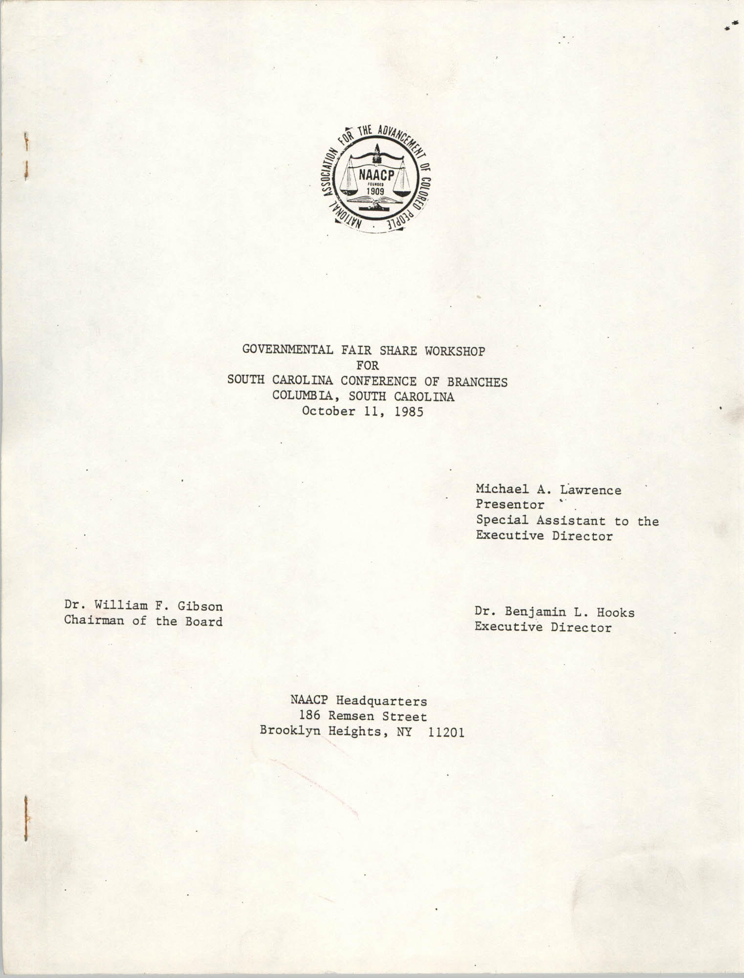 Governmental Fair Share Workshop for South Carolina Conference of Branches, October 11, 1985, Cover