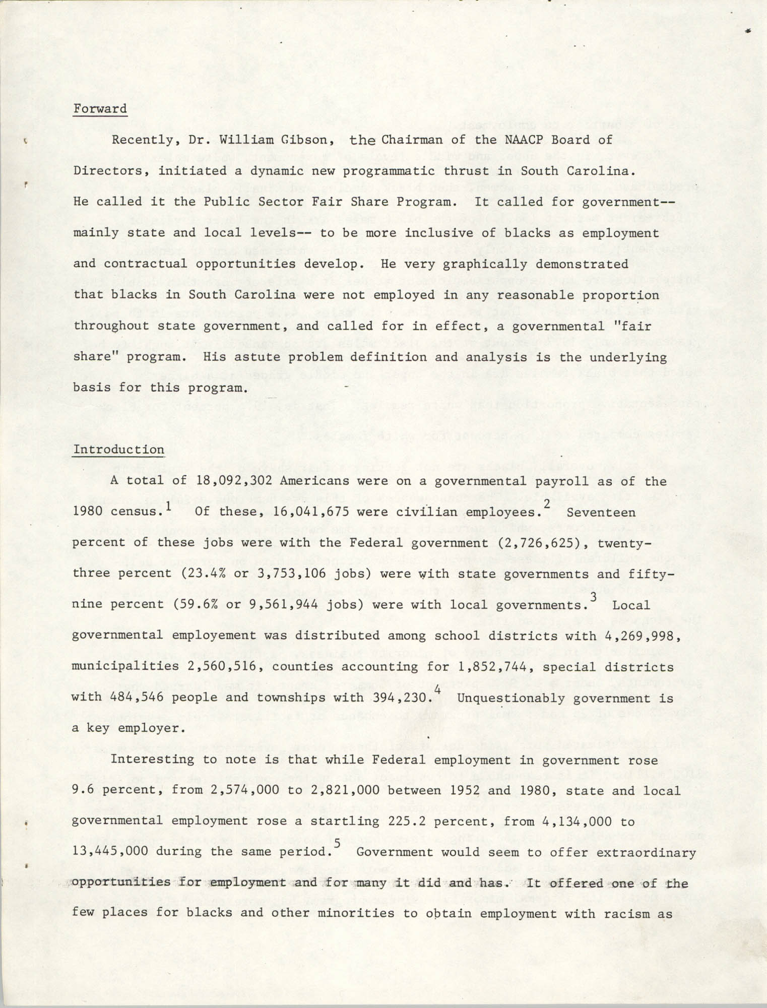 Governmental Fair Share Workshop for South Carolina Conference of Branches, October 11, 1985, Page 1