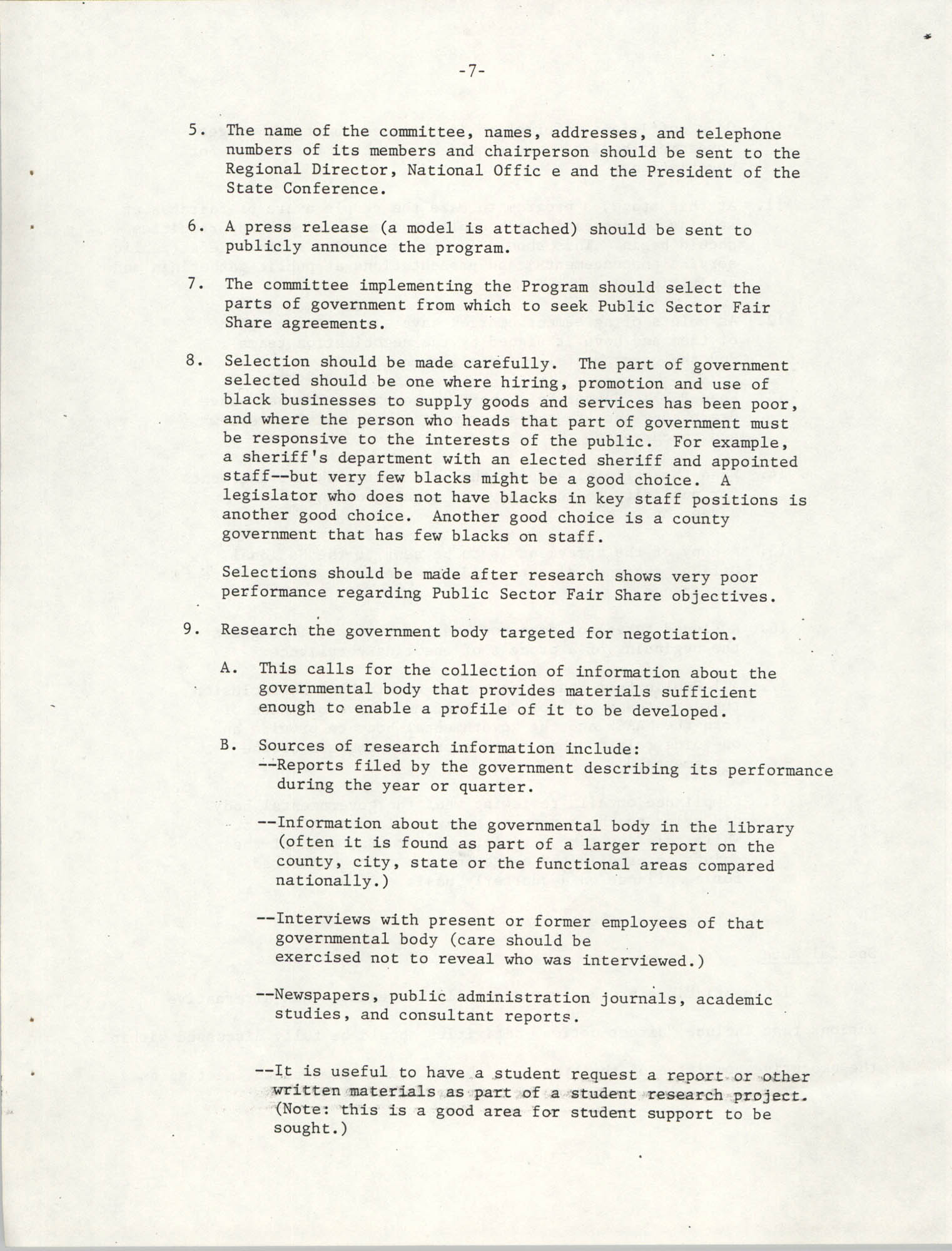 Governmental Fair Share Workshop for South Carolina Conference of Branches, October 11, 1985, Page 7
