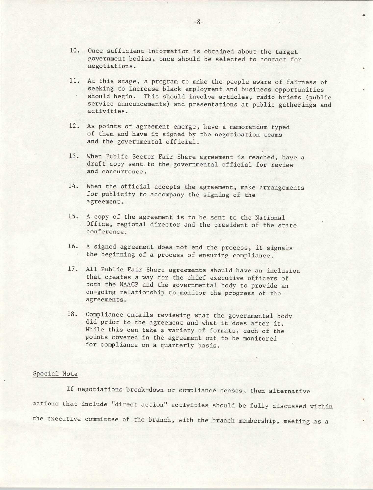 Governmental Fair Share Workshop for South Carolina Conference of Branches, October 11, 1985, Page 8