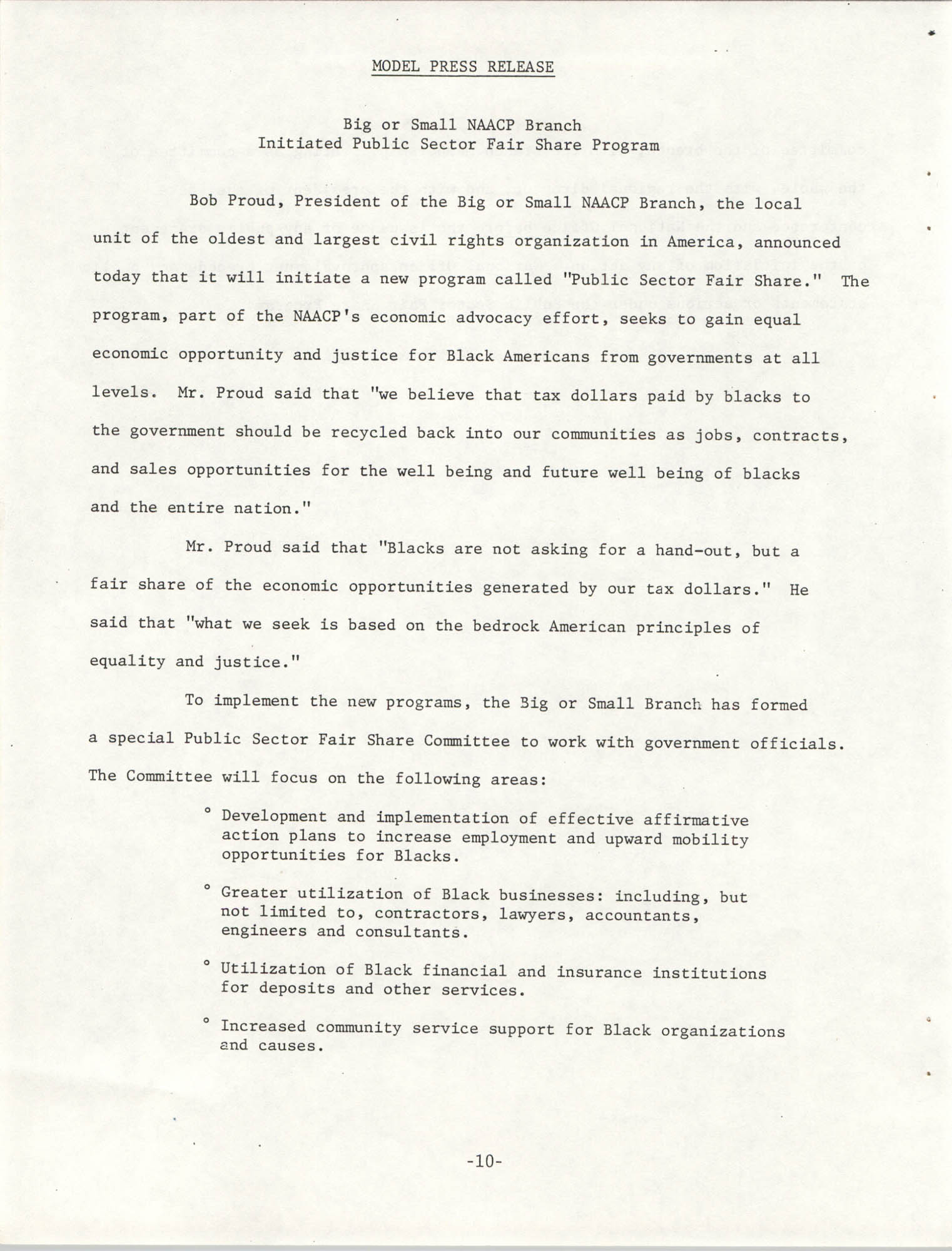 Governmental Fair Share Workshop for South Carolina Conference of Branches, October 11, 1985, Page 10