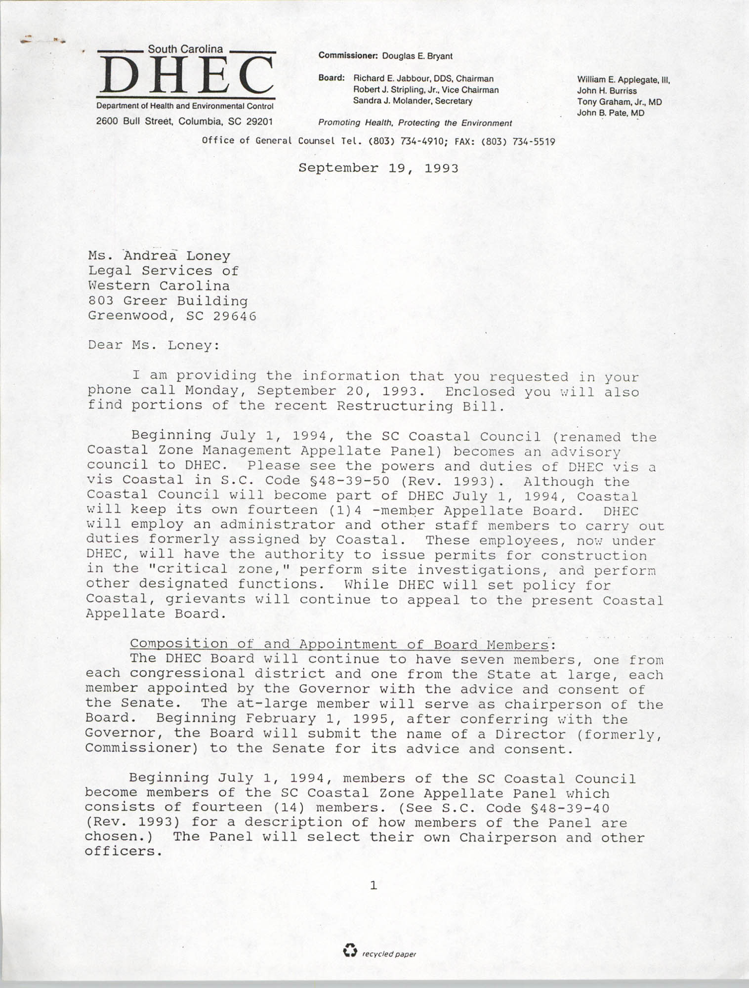 Letter from Nancy S. Layman to Andrea Loney, September 19, 1993, Page 1
