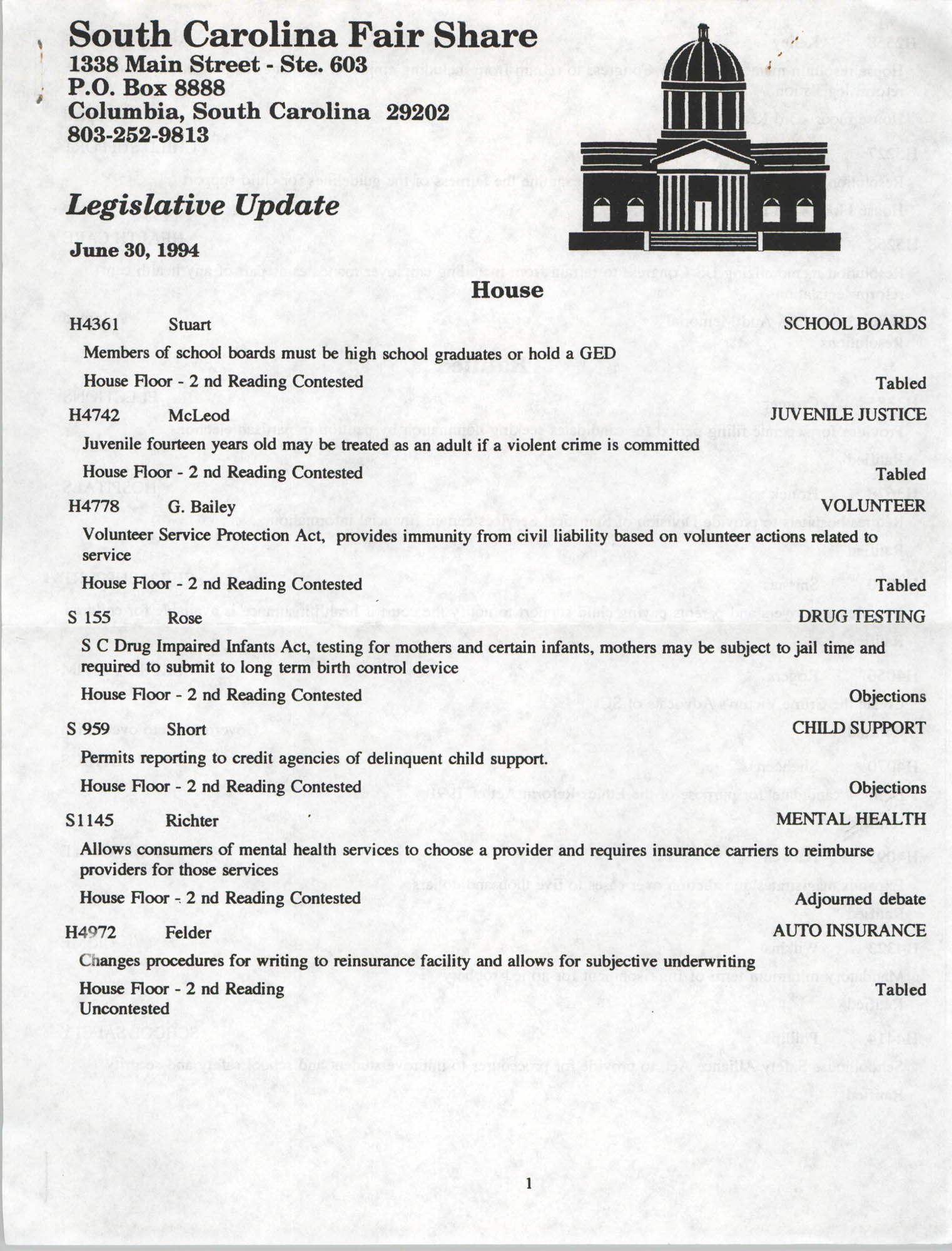 South Carolina Fair Share Legislative Update, June 30, 1994, Page 1