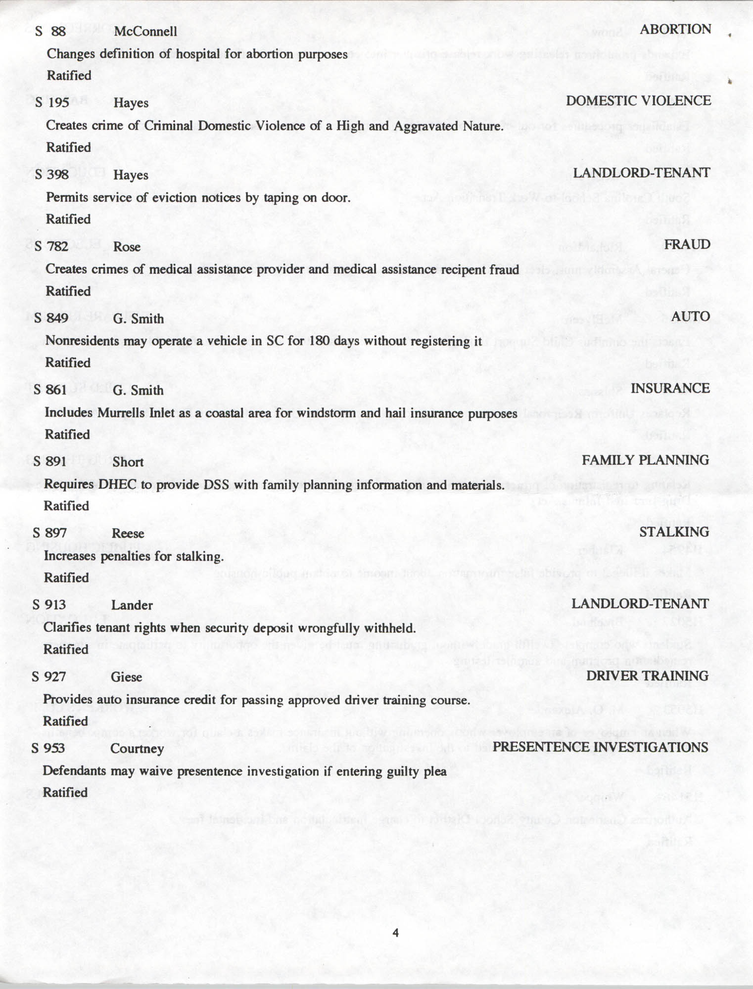 South Carolina Fair Share Legislative Update, June 30, 1994, Page 4